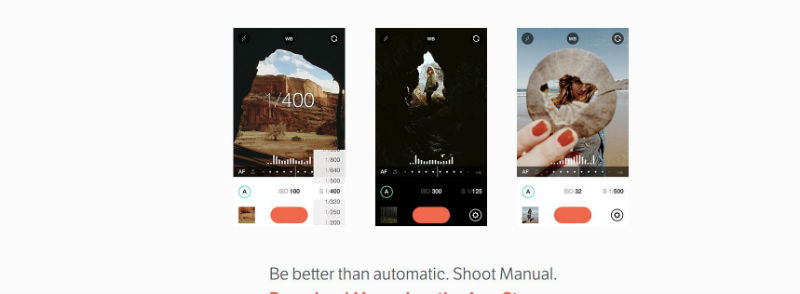iPhone photo apps - Manual app desktop screenshot