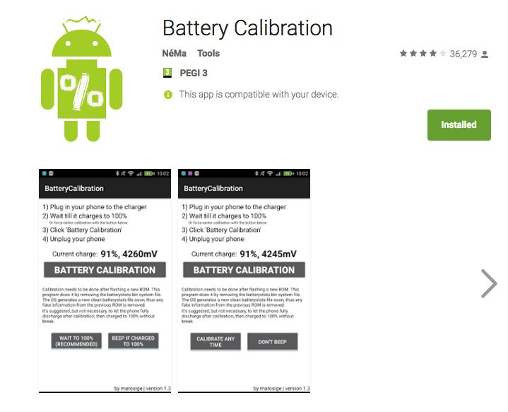 Calibrage de la batterie android root