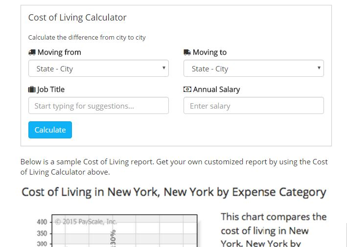Cost of living estimate tools - overall cost of living estimate