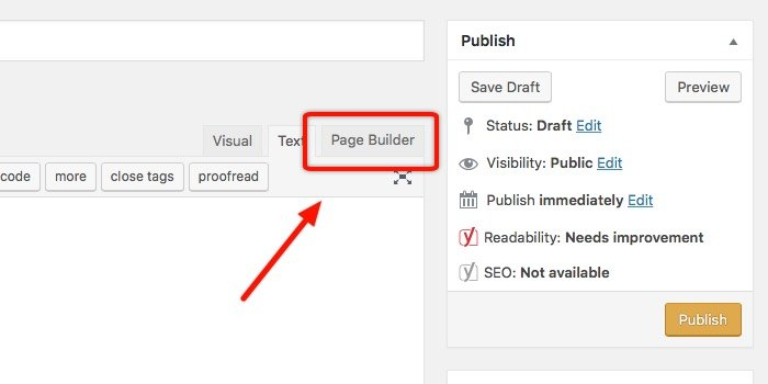 Landing Page -mte- Page builder tab