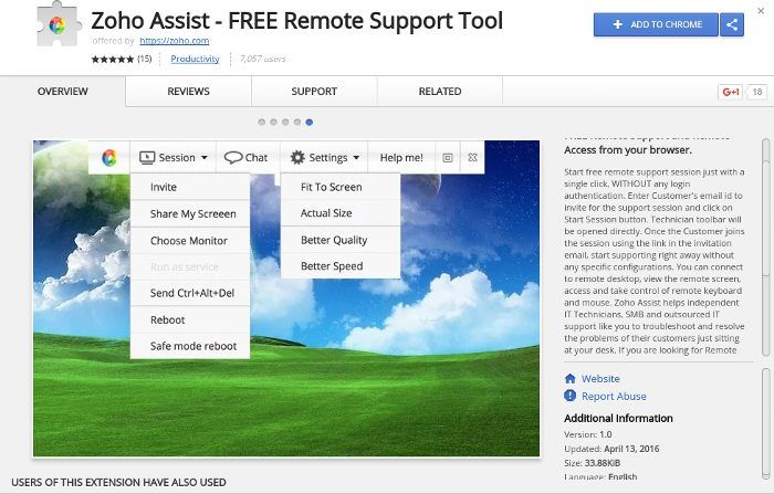 chrome-remote-zoho-assist