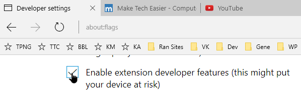 install edge extensions select developer checkbox