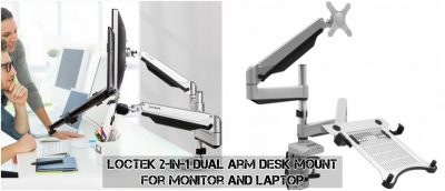Loctek 2-in-1 Dual Arm Desk Mount for Monitor and Laptop