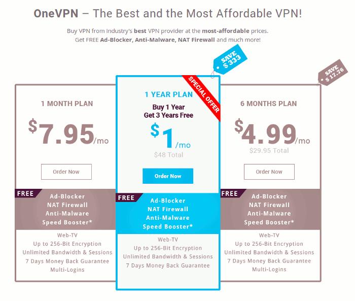 onevpn-price-plan