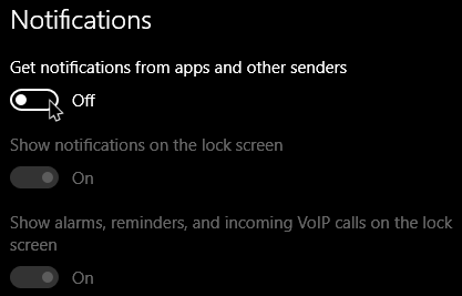 quiet hours win10 disable all app notifications