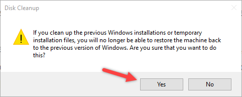 remove windows old folder click yes