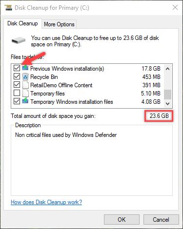 remove windows old folder total file size