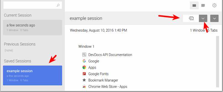 Save and Restore Browser Sessions in Chrome, Firefox and Vivaldi