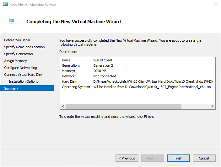 win10 hyper-v check configuration