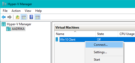 win10 hyper-v click on connect
