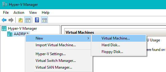win10 hyper-v create new virtual machine