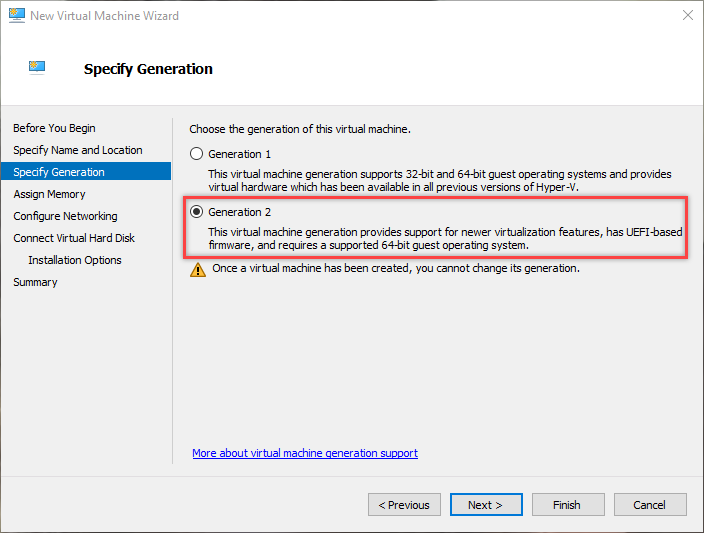 win10 hyper-v select generation
