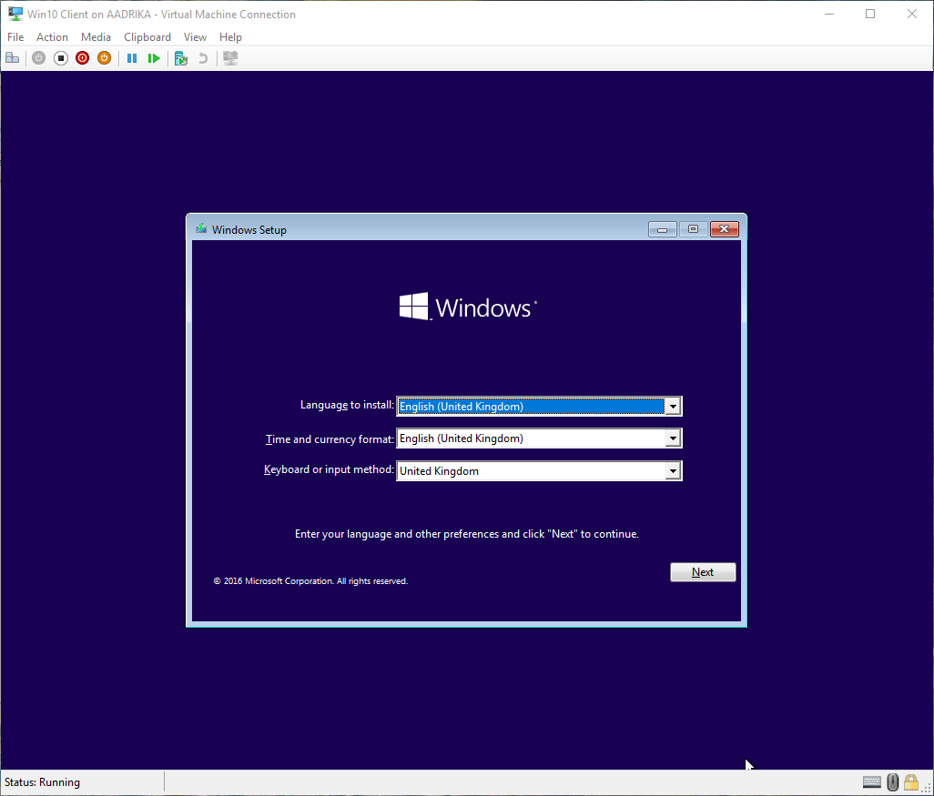 win10 hyper-v virtual machine created