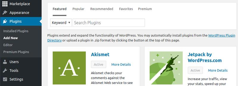 Add new WordPress plugins.