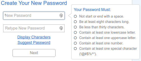 Bluehost password rules.