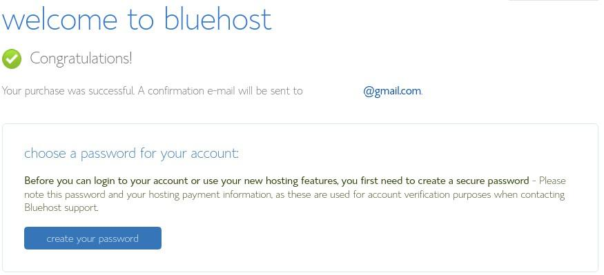 Create your Bluehost password.