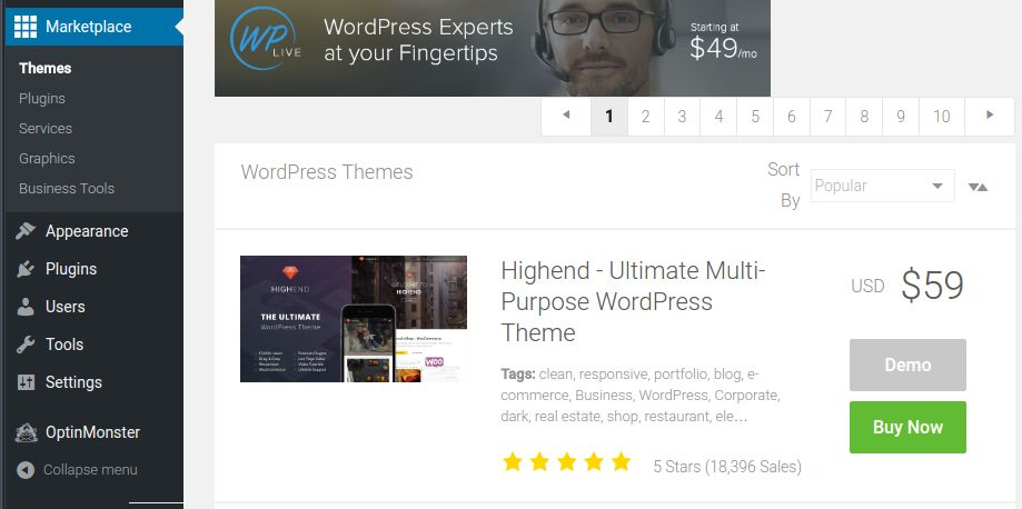 Bluehost Marketplace via WordPress dashboard.