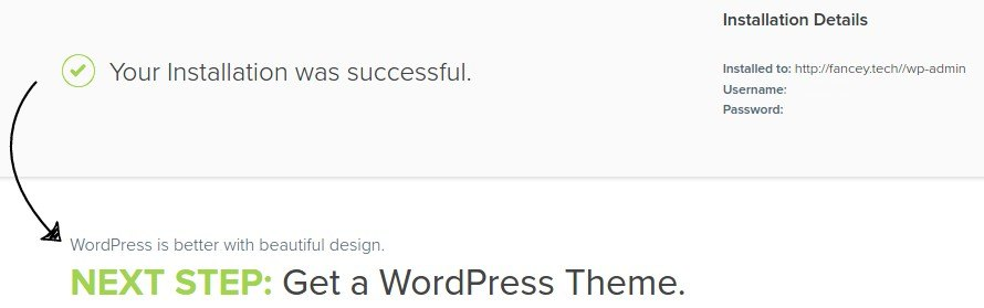 Your WordPress installation was successful.