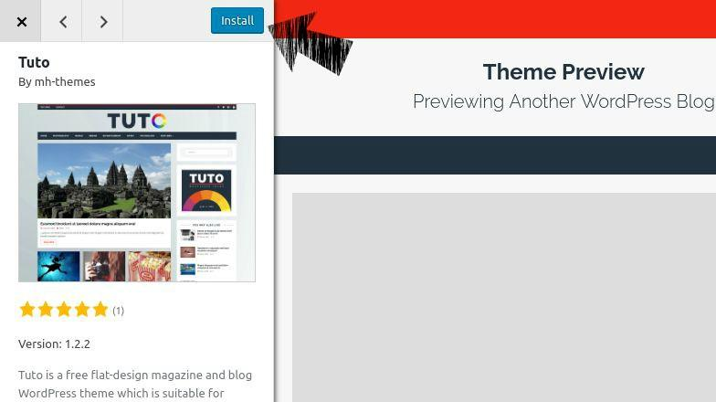 Preview and install WordPress theme.