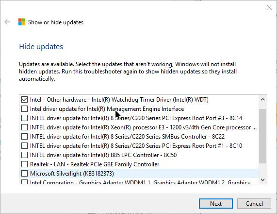 win10-driver-updates-select-the-update-to-hide