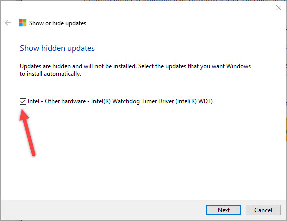 win10-driver-updates-select-update-to-unhide