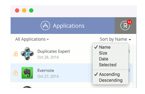 app-cleaner-sorting