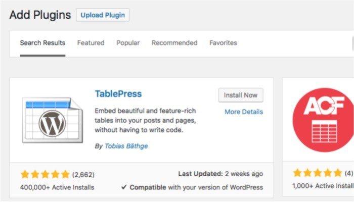 TablePress-mte-Tablepress-install