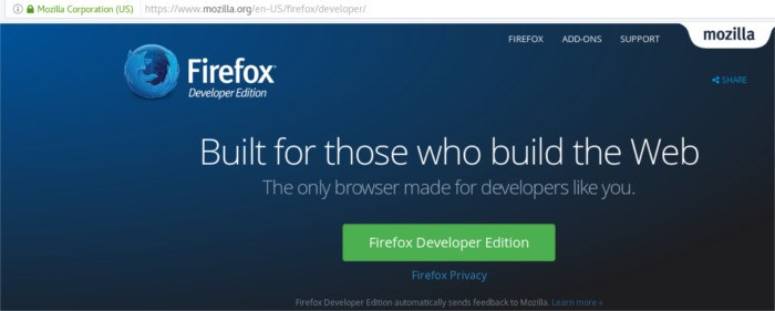 firefox-developer-download-page