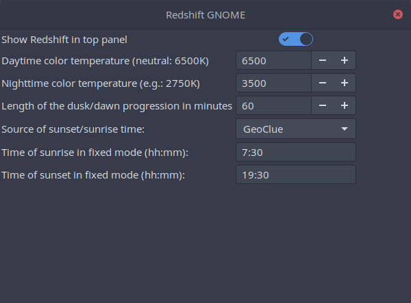 gnome-extensions-redshift