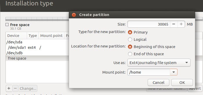 How to Install Ubuntu with Separate Root and Home Hard