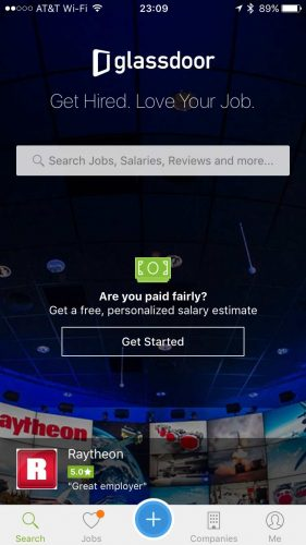 Glassdoor's Job Searching Mobile App provides a treasure trove of company reviews and employee insider info on prospective target companies for job seekers.