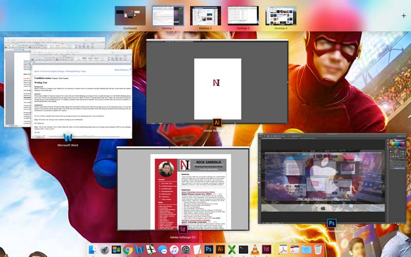 Mission Control takes all of your open applications and helps you organize them into individual desktops.