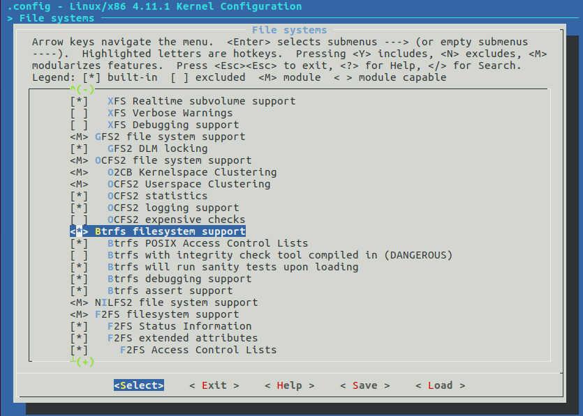 Linux Kernel Filesystems Configuration