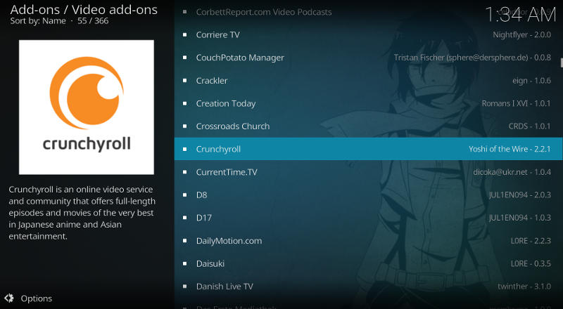 Kodi Crunchyroll add-on