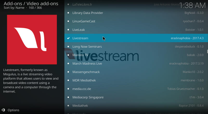Kodi Livestream Add-on
