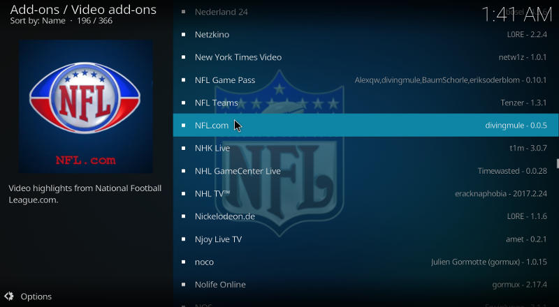 Kodi NFL Add-on