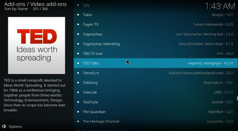 Kodi TED Add-on