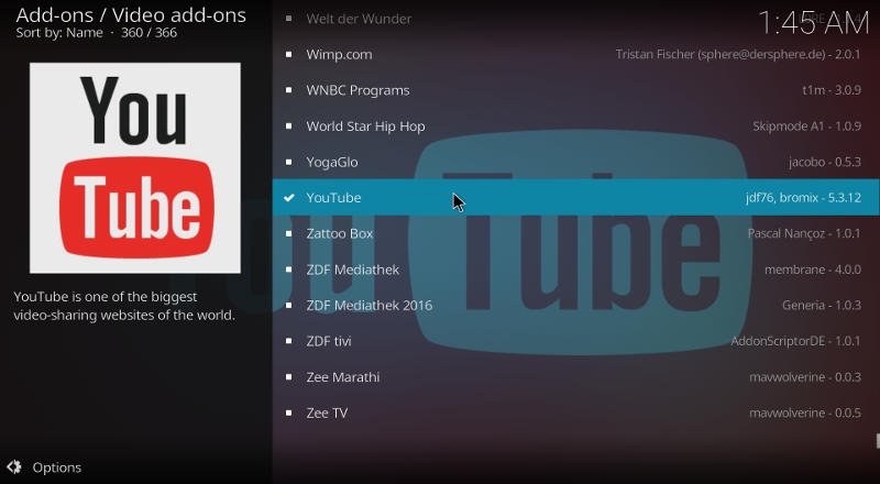 Kodi YouTube Add-on