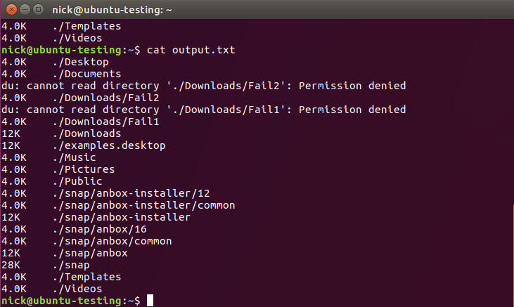 Everything logged from the command Linux