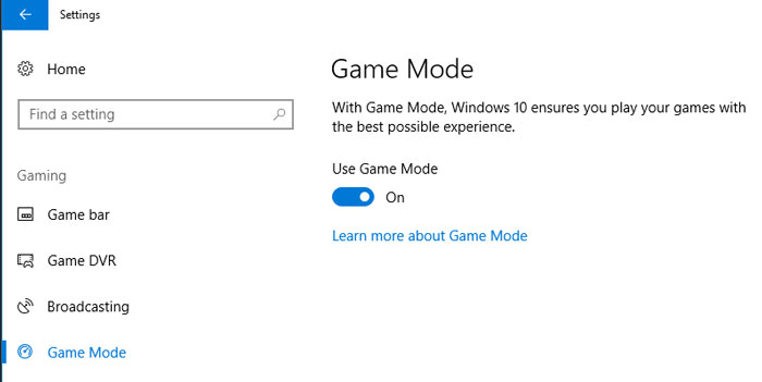 Creators Update Game Mode