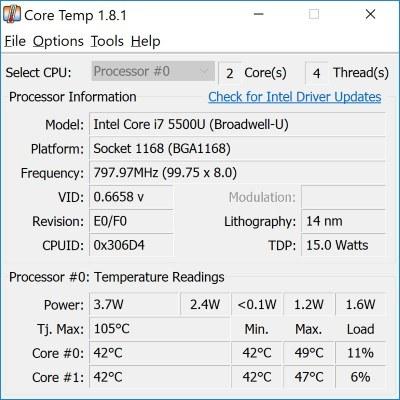 الكمبيوتر المحمول درجة الحرارة الأساسية