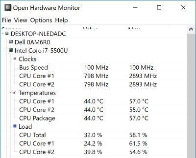 كمبيوتر محمول - درجة حرارة - أجهزة مفتوحة