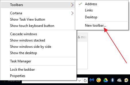 Quick Launch bar in Windows 10