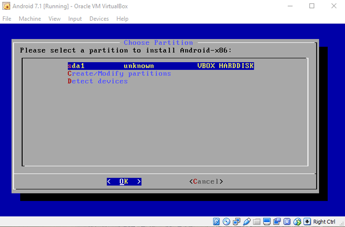run-android-in-virtualbox-select-created-partition