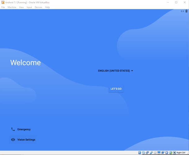 run-android-in-virtualbox-select-welcome-screen