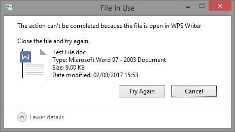 wps writer document locked by another application