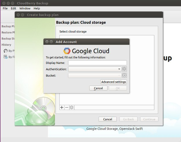 CloudBerry Google Cloud Configuration