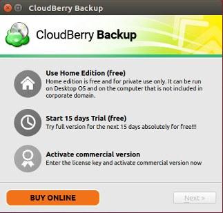 First Run CloudBerry Backup
