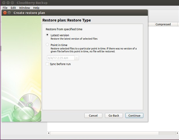 CloudBerry Backup Restore