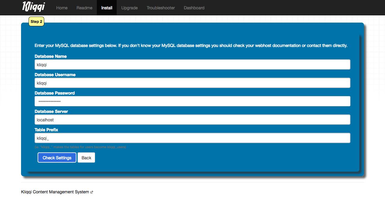 kliqqi-install-database